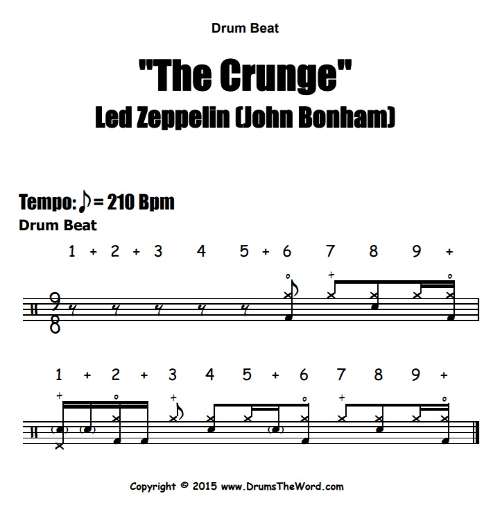 """The Crunge"" - (Led Zeppelin) Drum Beat Video Drum Lesson Notation Chart Transcription Sheet Music Drum Lesson"
