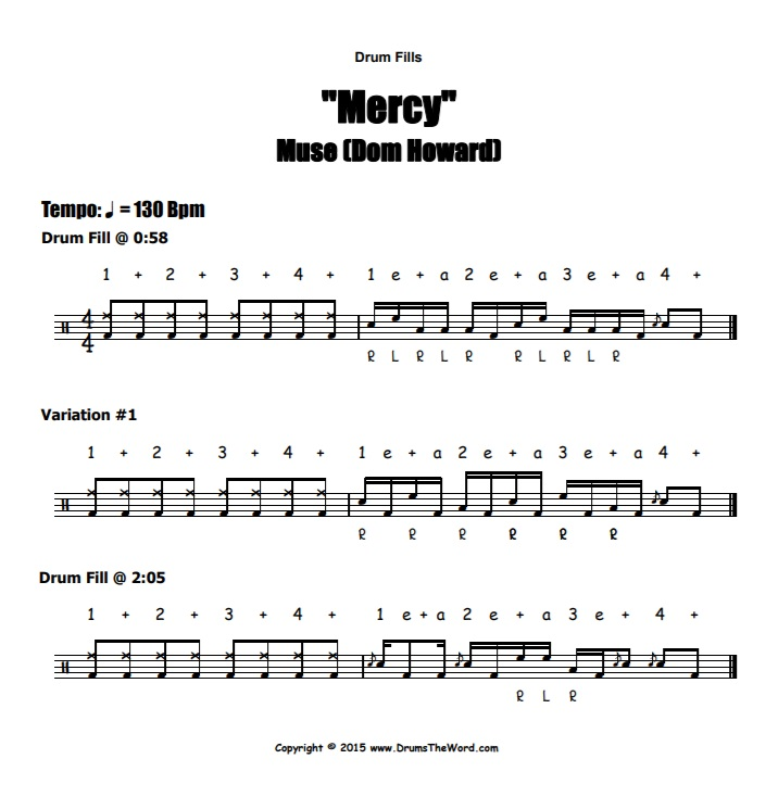 """Mercy"" - (Muse) Drum Fills Video Drum Lesson Notation Chart Transcription Sheet Music Drum Lesson"