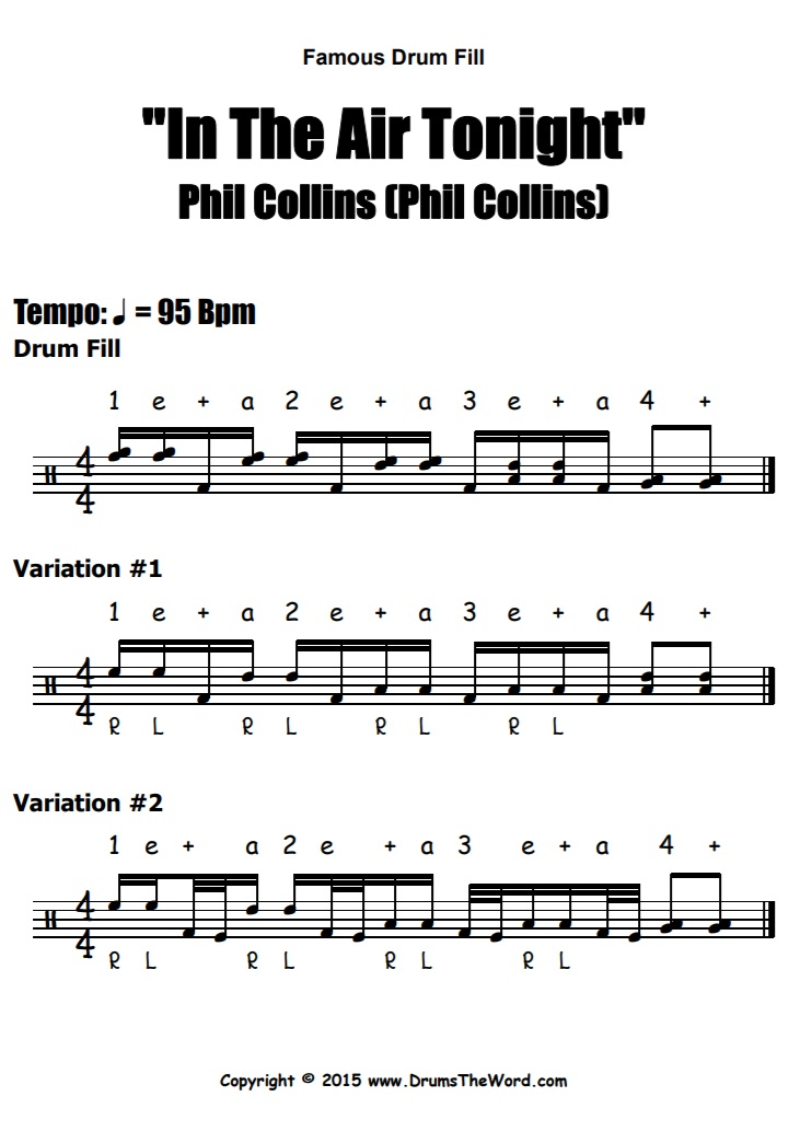 """In The Air Tonight"" - (Phil Collins) Drum Fills Video Drum Lesson Notation Chart Transcription Sheet Music Drum Lesson"