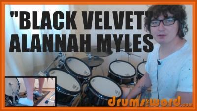 """""""Black Velvet"""" - (Alannah Myles) Full-Song Video Drum Lesson Notation Chart Transcription Sheet Music Drum Lesson"""