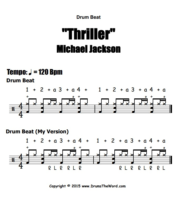 """Thriller"" - (Michael Jackson) Drum Beat Video Drum Lesson Notation Chart Transcription Sheet Music Drum Lesson"