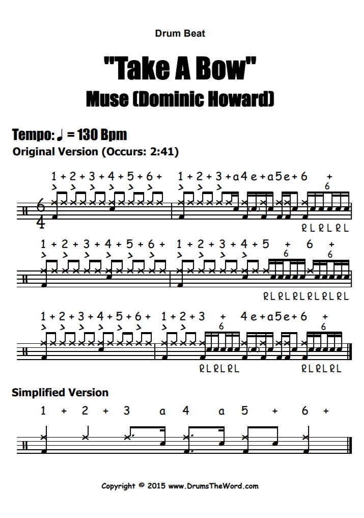 """""""Take A Bow"""" - (Muse) Drum Beat Video Drum Lesson Notation Chart Transcription Sheet Music Drum Lesson"""