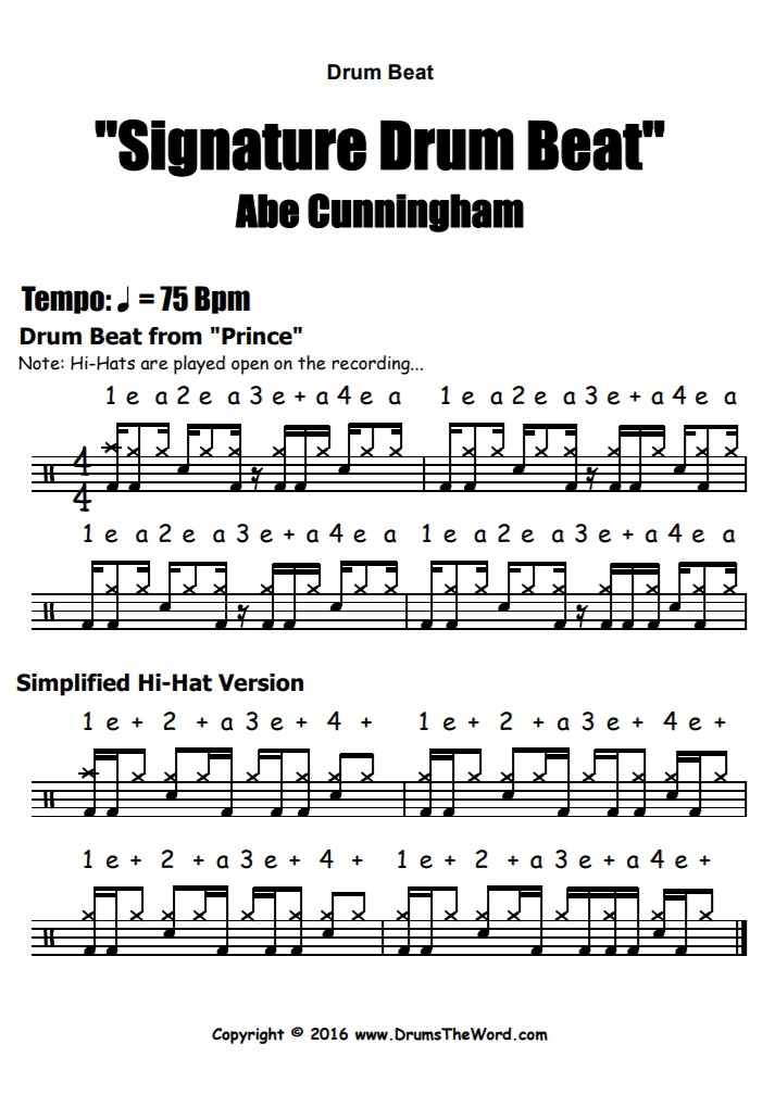 """Abe Cunningham"" - (Signature Lick) Drum Beat Video Drum Lesson Notation Chart Transcription Sheet Music Drum Lesson"