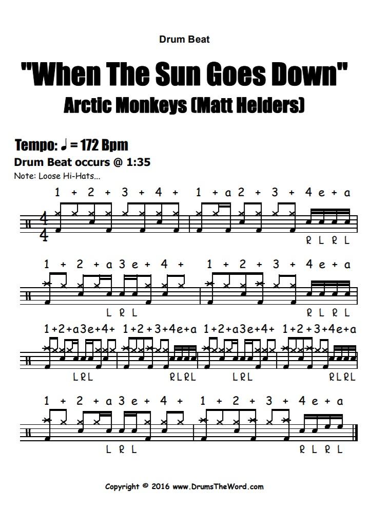 """When The Sun Goes Down"" - (Arctic Monkeys) Drum Beat Intro Video Drum Lesson Notation Chart Transcription Sheet Music Drum Lesson"