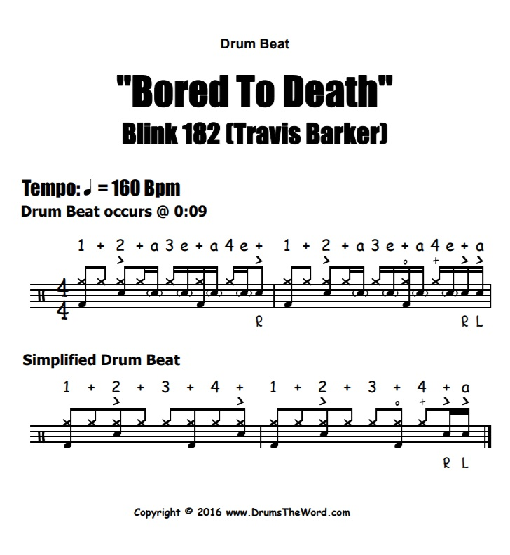"""Bored To Death"" - (Blink 182) Drum Beat Video Drum Lesson Notation Chart Transcription Sheet Music Drum Lesson"