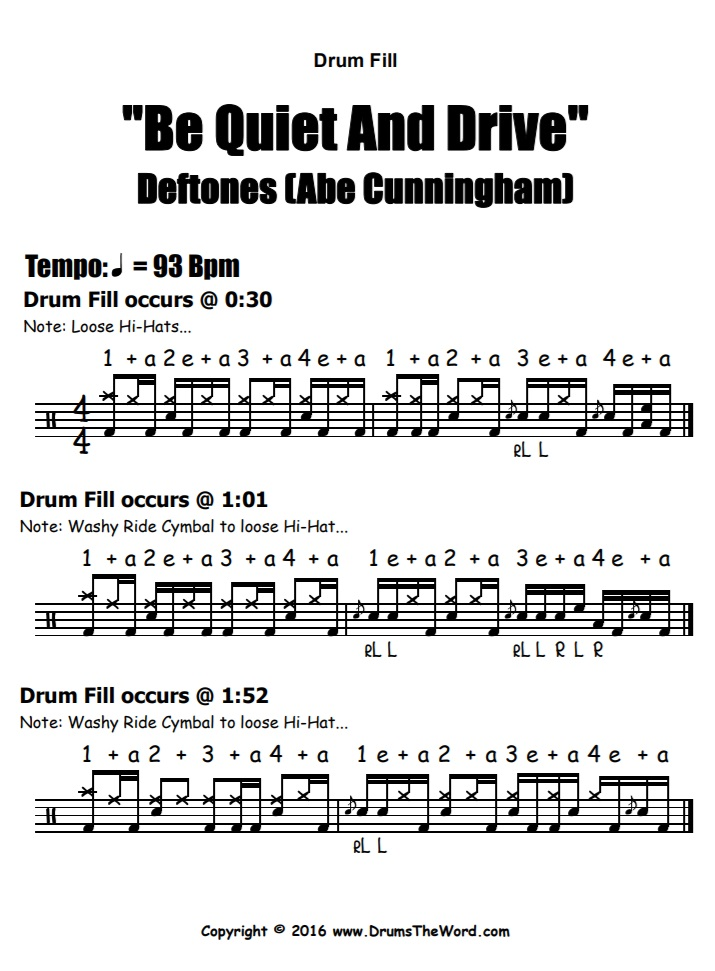 """Be Quiet And Drive"" - (Deftones) Drum Fills Video Drum Lesson Notation Chart Transcription Sheet Music Drum Lesson"