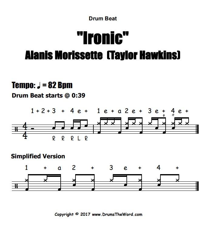 """""""Ironic"""" - (Alanis Morissette) Drum Beat Video Drum Lesson Notation Chart Transcription Sheet Music Drum Lesson"""