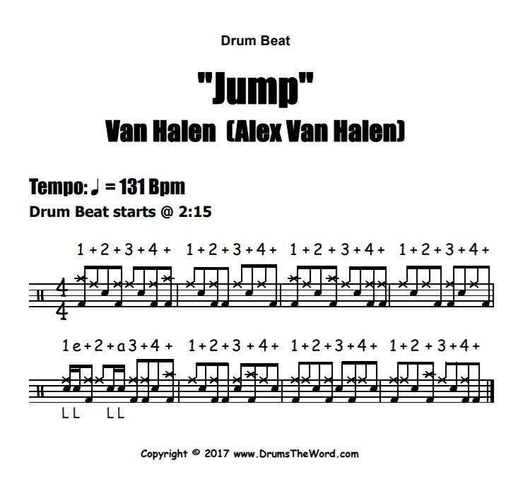 """""""Jump"""" - (Van Halen) Drum Beat Video Drum Lesson Notation Chart Transcription Sheet Music Drum Lesson"""