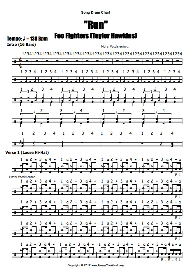 """Run"" - (Foo Fighters) Full Song Video Drum Lesson Notation Chart Transcription Sheet Music Drum Lesson"