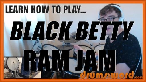 """""""Black Betty"""" - (Ram Jam) Full-Song Video Drum Lesson Notation Chart Transcription Sheet Music Drum Lesson"""