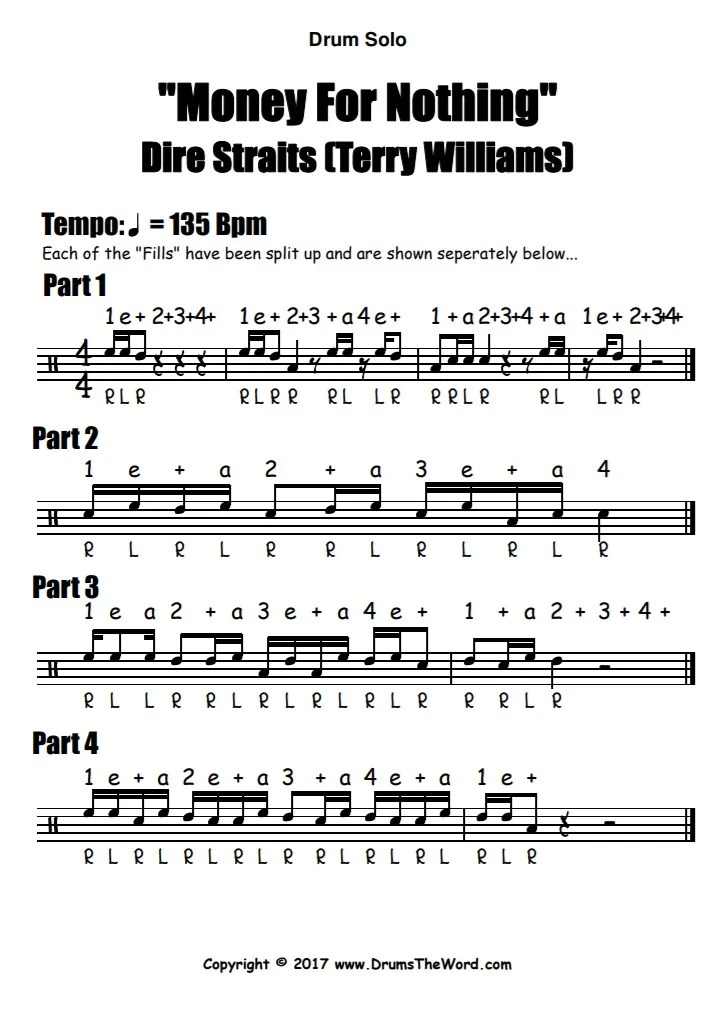 """Money For Nothing"" - (Dire Straits) Drum Solo Fill Video Drum Lesson Notation Chart Transcription Sheet Music Drum Lesson"