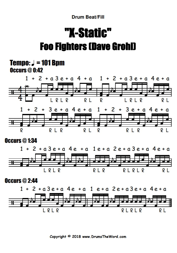 """X-Static"" - (Foo Fighters) Drum Beat Fill Lick Video Drum Lesson Notation Chart Transcription Sheet Music Drum Lesson"