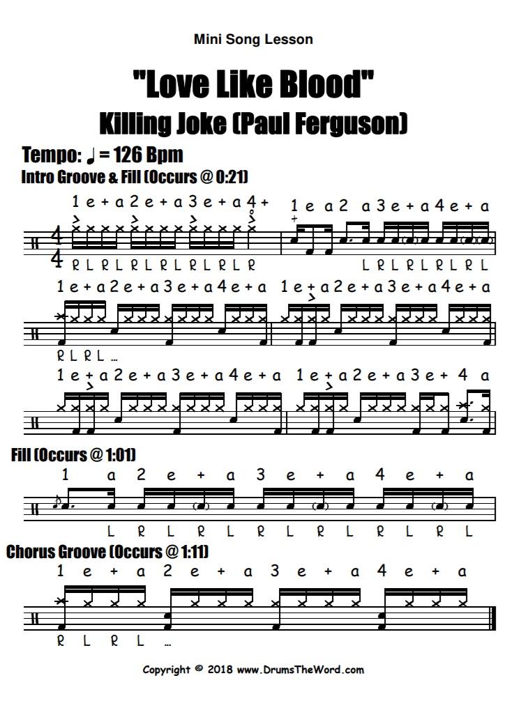 """""""Love Like Blood"""" - (Killing Joke) Full Song Video Drum Lesson Notation Chart Transcription Sheet Music Drum Lesson"""