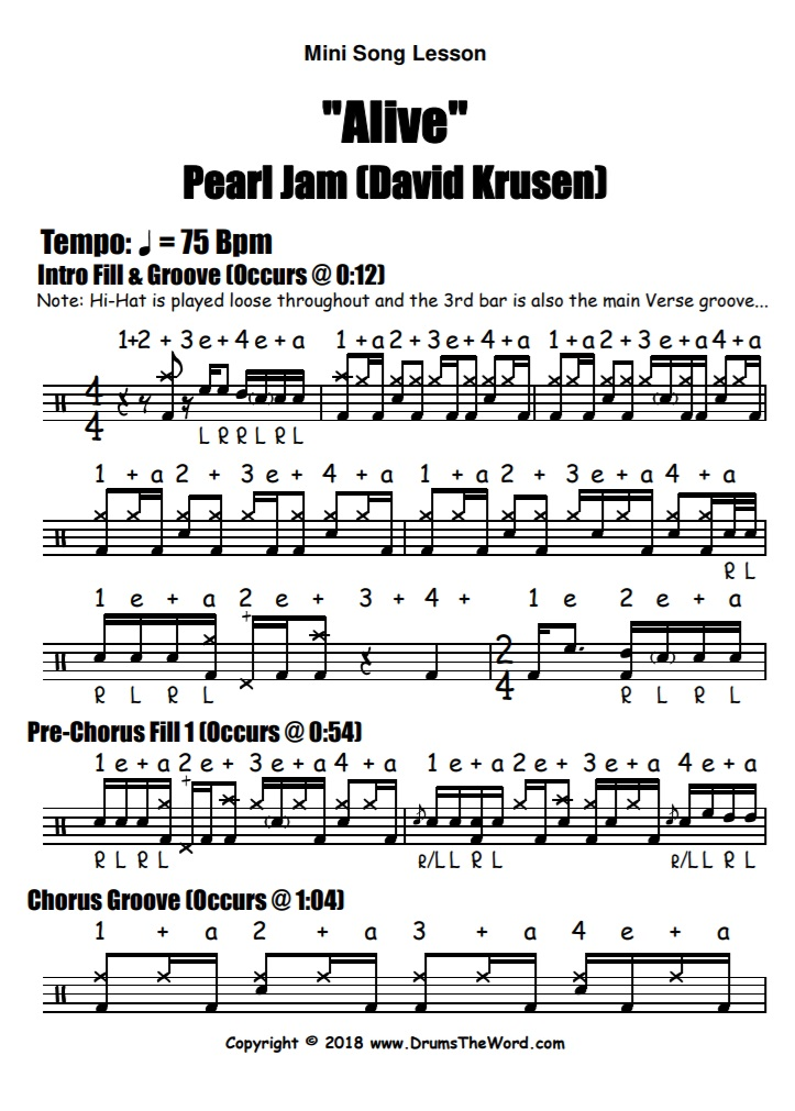 """Alive"" - (Pearl Jam) Full Song Video Drum Lesson Notation Chart Transcription Sheet Music Drum Lesson"
