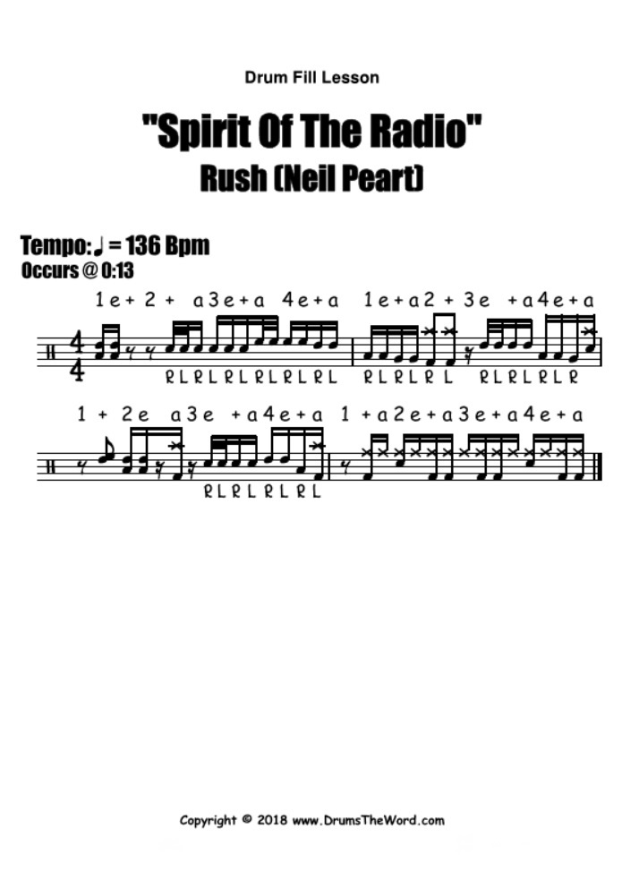 Spirit Of The Radio (Rush) - Free PDF drum notation lesson chart transcription (Drum Fill Drum Lesson)
