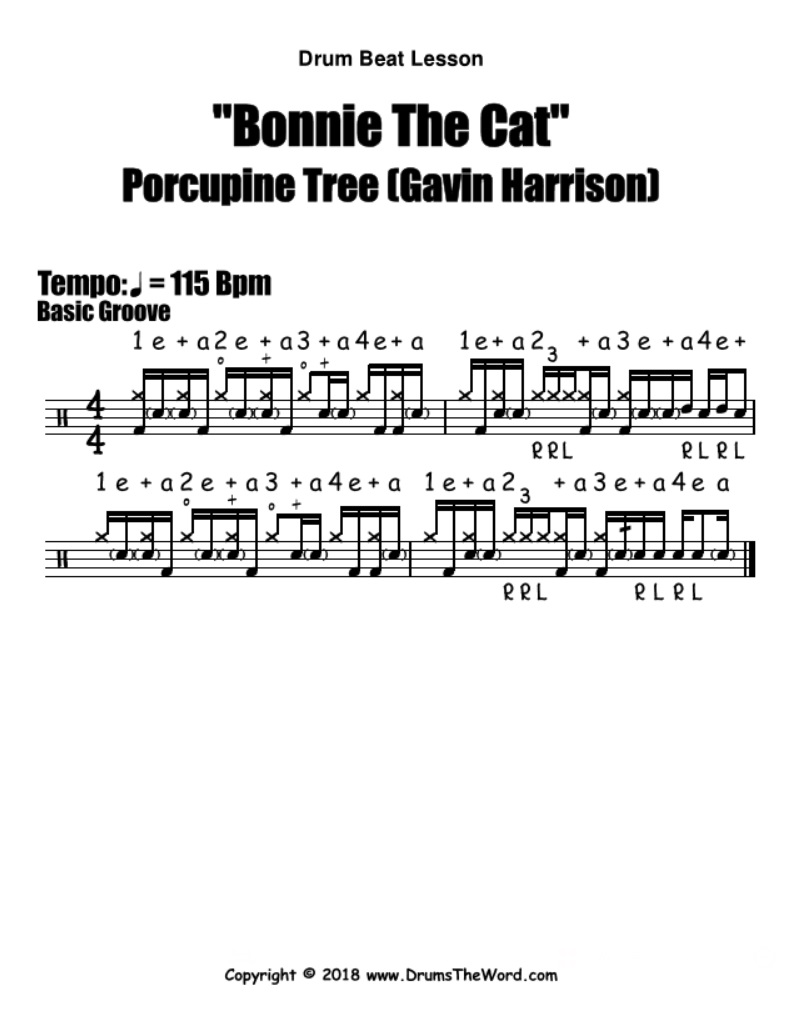 Bonnie The Cat (Porcupine Tree) - Free PDF drum notation lesson chart transcription (Drum Beat Drum Lesson)