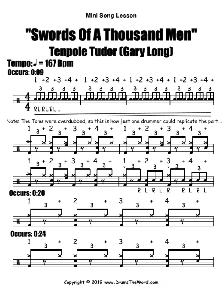 """Swords Of A Thousand Men"" - (Tenpole Tudor) Drum Solo Fill Beat Groove Video Drum Lesson Notation Chart Transcription Sheet Music Drum Lesson"