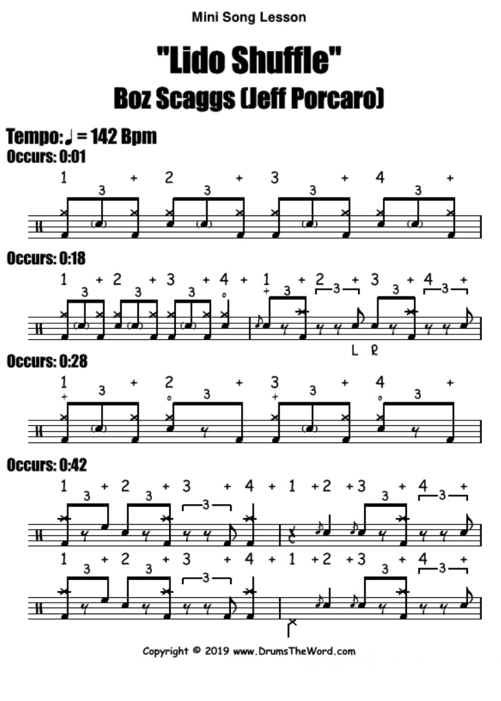 """Lido Shuffle"" - (Boz Scaggs) Full Song Video Drum Lesson Notation Chart Transcription Sheet Music Drum Lesson"