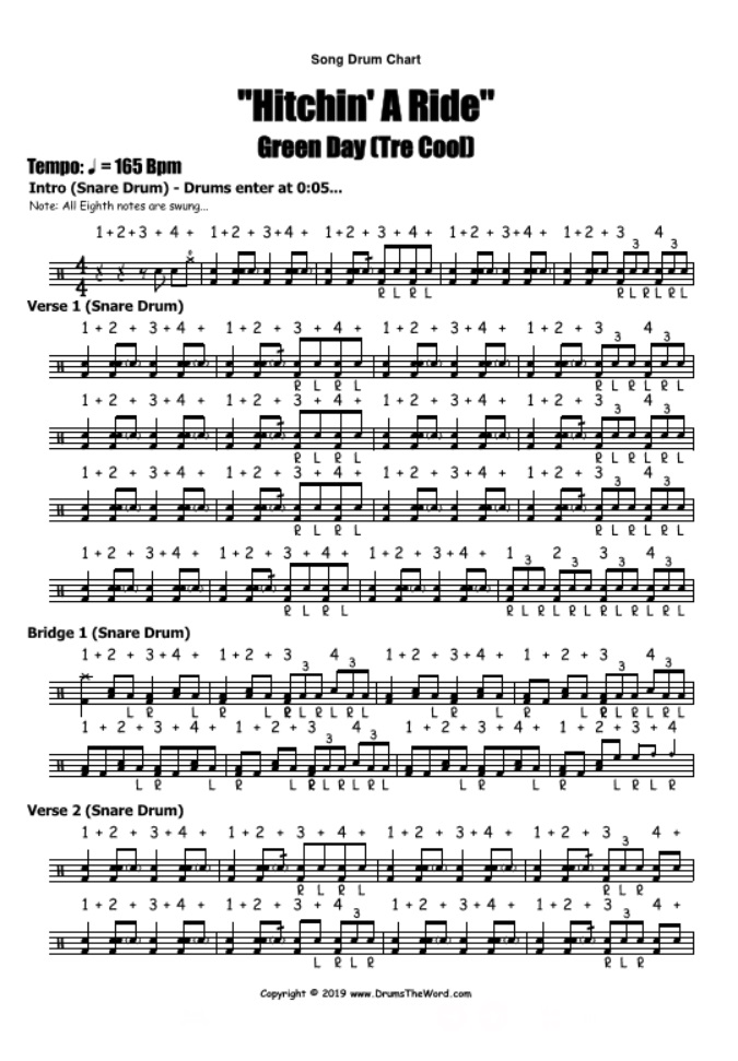 """Hitchin' A Ride"" - (Green Day) Full Song Video Drum Lesson Notation Chart Transcription Sheet Music Drum Lesson"