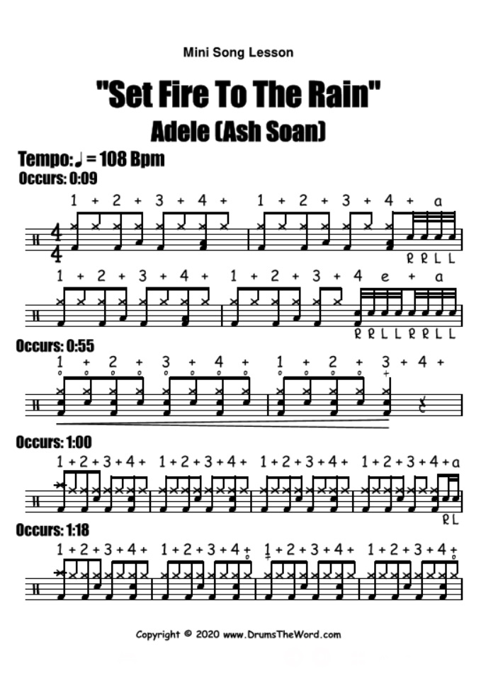 """Set Fire To The Rain"" - (Adele) Mini Song Lesson Video Drum Lesson Notation Chart Transcription Sheet Music Drum Lesson"