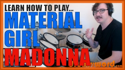 """Material Girl"" - (Madonna) Full-Song Video Drum Lesson Notation Chart Transcription Sheet Music Drum Lesson"