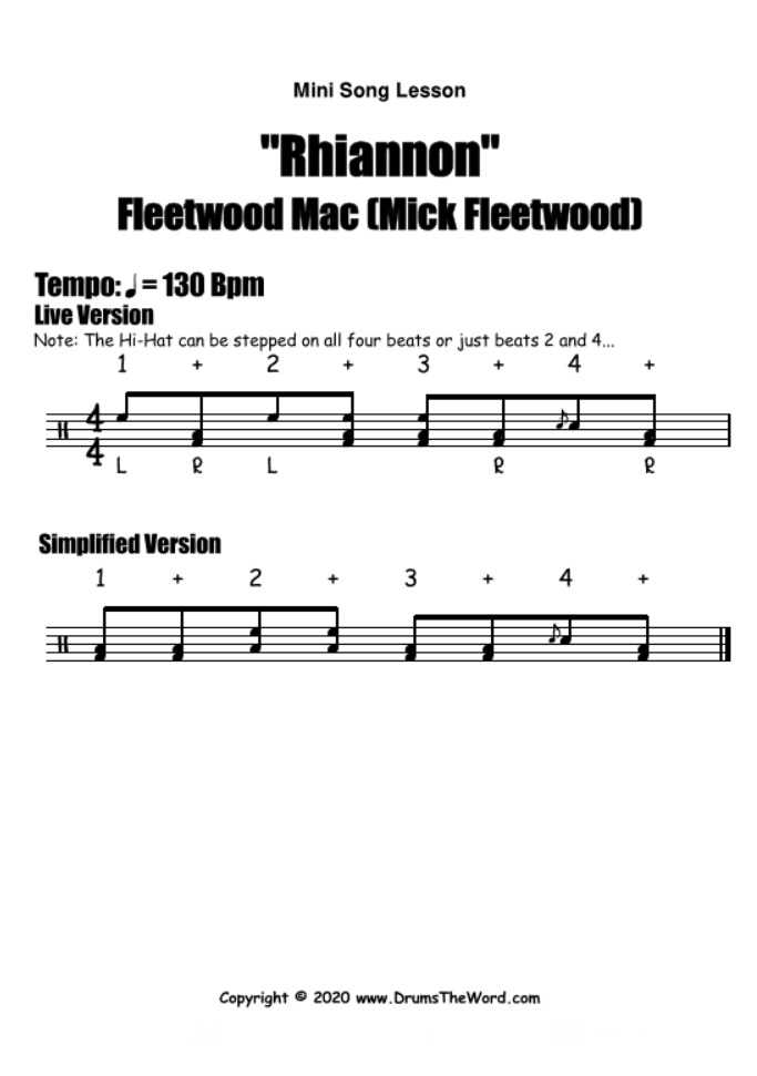 """Rhiannon"" - (Fleetwood Mac) Mini Song Lesson Video Drum Lesson Notation Chart Transcription Sheet Music Drum Lesson"