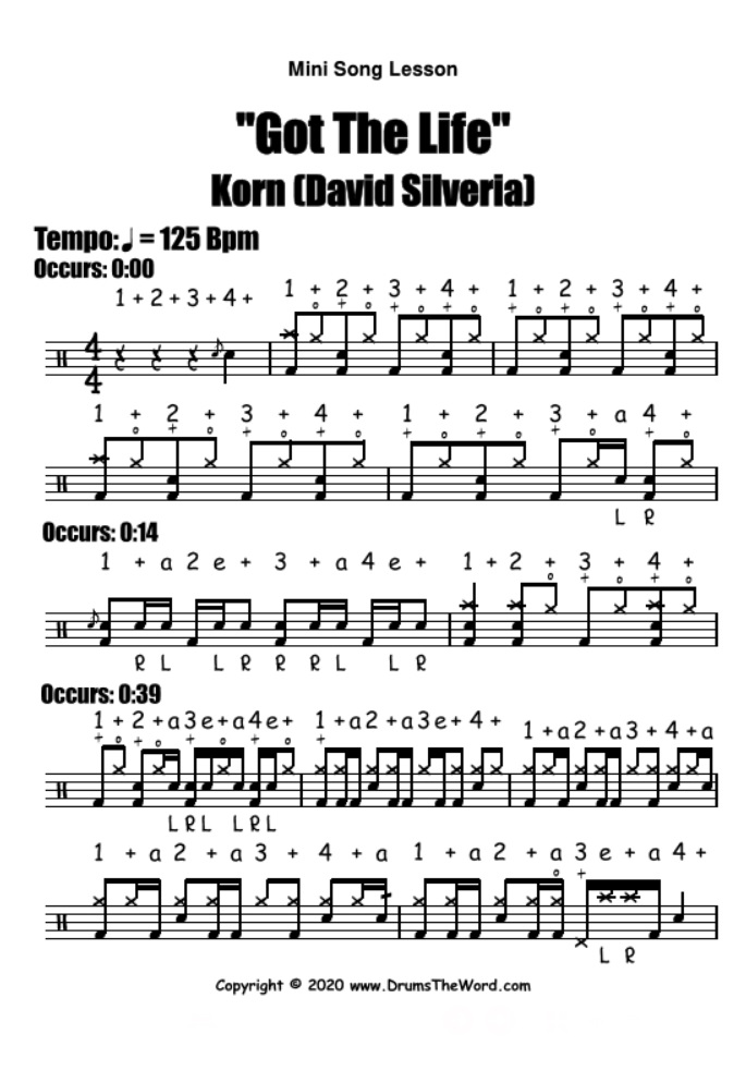 """Got The Life"" - (Korn) Mini Song Lesson Video Drum Lesson Notation Chart Transcription Sheet Music Drum Lesson"