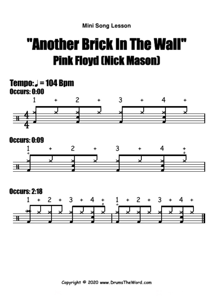 """Another Brick In The Wall"" - (Pink Floyd) Mini Song Lesson Video Drum Lesson Notation Chart Transcription Sheet Music Drum Lesson"