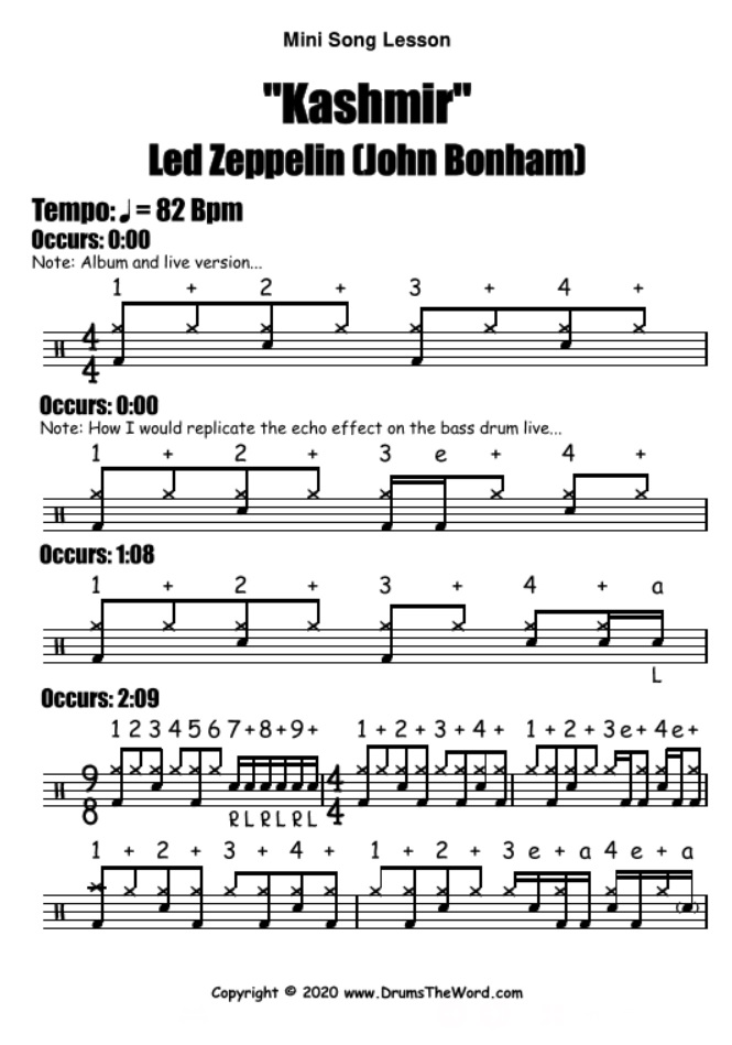 """Kashmir"" - (Led Zeppelin) Mini Song Lesson Video Drum Lesson Notation Chart Transcription Sheet Music Drum Lesson"