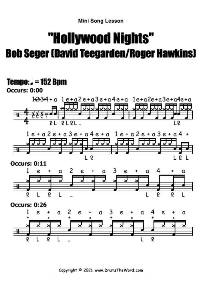 """Hollywood Nights"" - (Bob Seger) Mini Song Lesson Video Drum Lesson Notation Chart Transcription Sheet Music Drum Lesson"