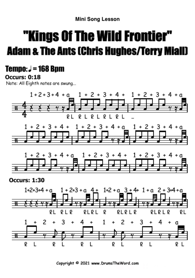 """""""Kings Of The Wild Frontier"""" - (Adam & The Ants) Mini Song Lesson Video Drum Lesson Notation Chart Transcription Sheet Music Drum Lesson"""