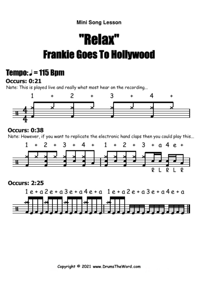 """""""Relax"""" - (Frankie Goes To Hollywood) Mini Song Lesson Video Drum Lesson Notation Chart Transcription Sheet Music Drum Lesson"""
