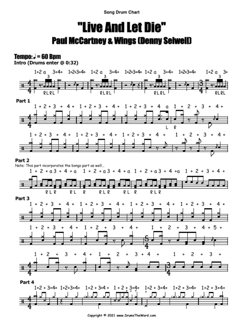 """""""Live And Let Die"""" - (Paul McCartney & Wings) Full Song Lesson Video Drum Lesson Notation Chart Transcription Sheet Music Drum Lesson"""