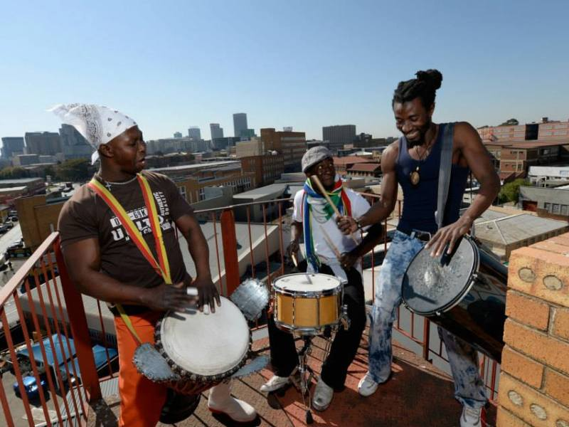 3 Drummers on the rooftop