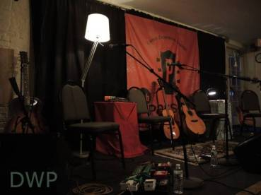 Guitars before the show at Club Passim