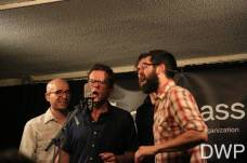 Brian Dickel (bass), Trent Wagler (vocals), and Jay Lapp (mandolin)