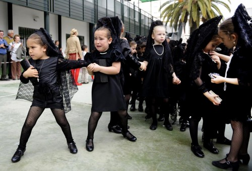 26 Young girls wore traditional black mantillas during a childrens procession at Our Lady of the Rosary school in Seville Spain 500x340 26 Young girls wore traditional black mantillas during a childrens procession at Our Lady of the Rosary school in Seville Spain