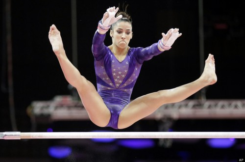 Alexandra Raisman on the uneven bars 500x330 Alexandra Raisman on the uneven bars