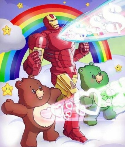 care bear power with iron man 424x500 care bear power with iron man