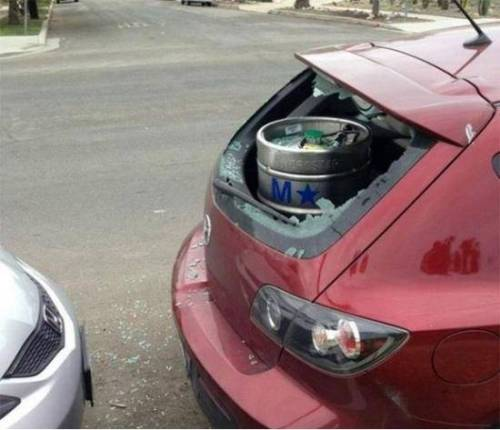 how not to transport beer in a mazda  500x430 how not to transport beer in a mazda