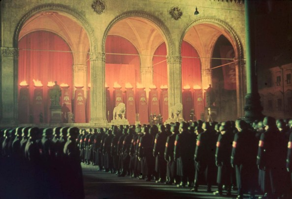 Annual midnight swearing in of Nazi SS troops Feldherrnhalle Munich 1938 1024x699 Annual midnight swearing in of Nazi SS troops, Feldherrnhalle, Munich, 1938