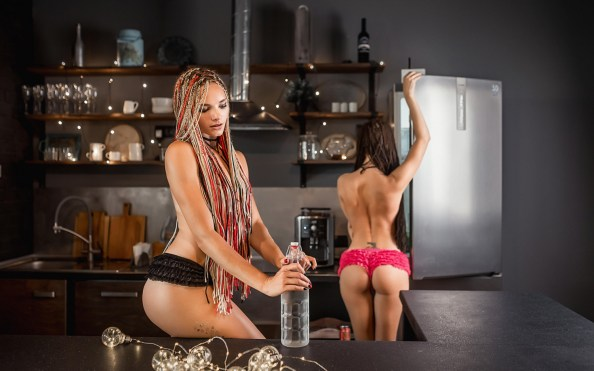 kitchen dreads opening homemade alcohol on the counter