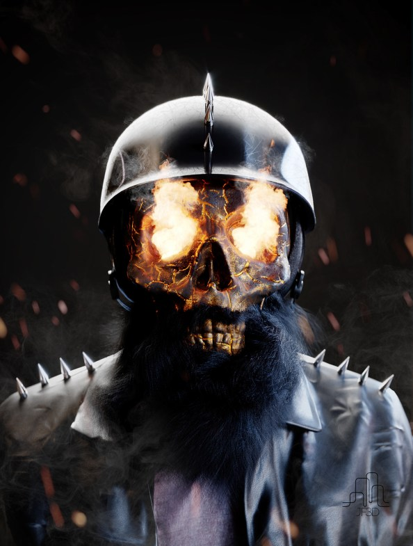 ghost rider with a beard