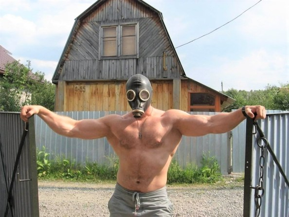 Massive Man In Gas Mask