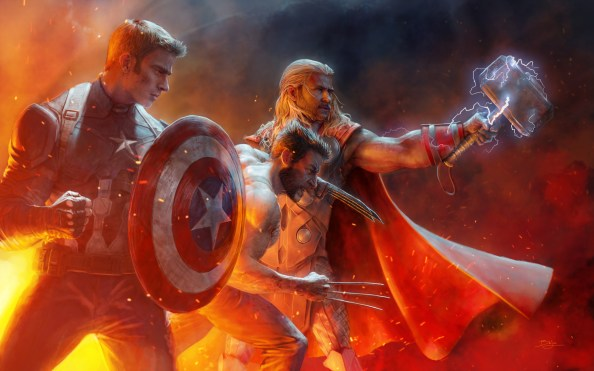 Thor, Captain America, and Wolverine
