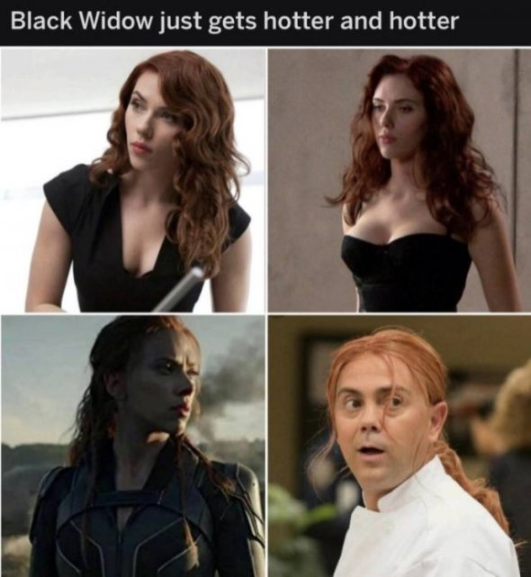 black widow just gets hotter and hotter
