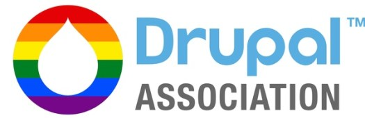 An adapted Pride-themed Drupal Association logo