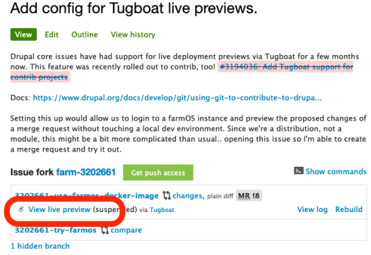Example of live deploy previews