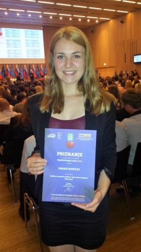 Članica društva Sarah Horvat je dobila priznanje za sodelovanje na natečaju za Prostovoljec 2015.