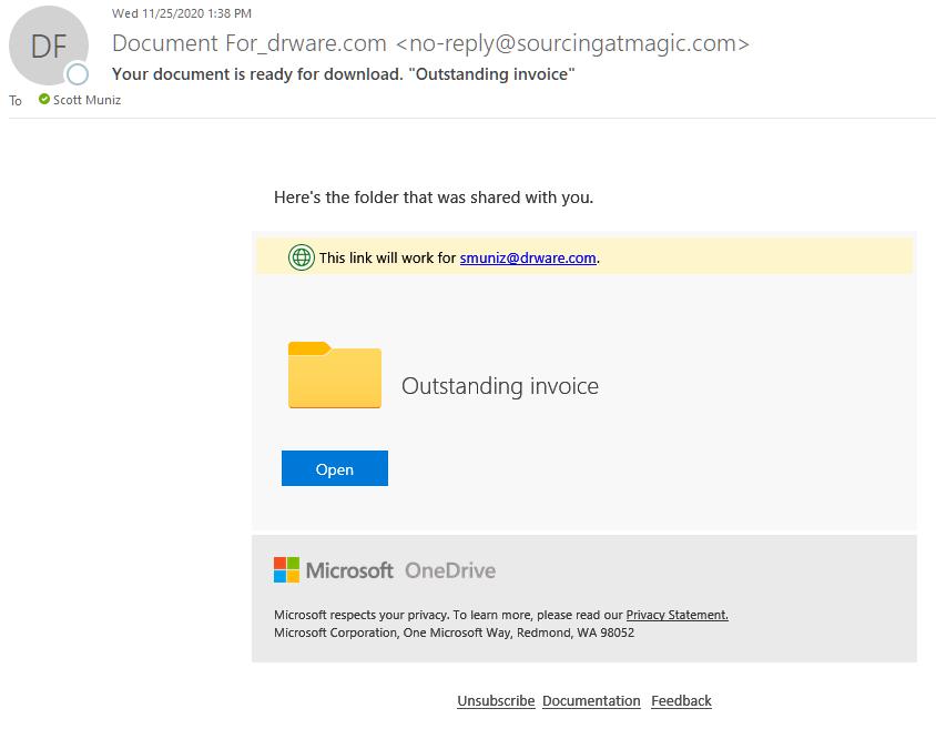 OneDrive Phishing Scam